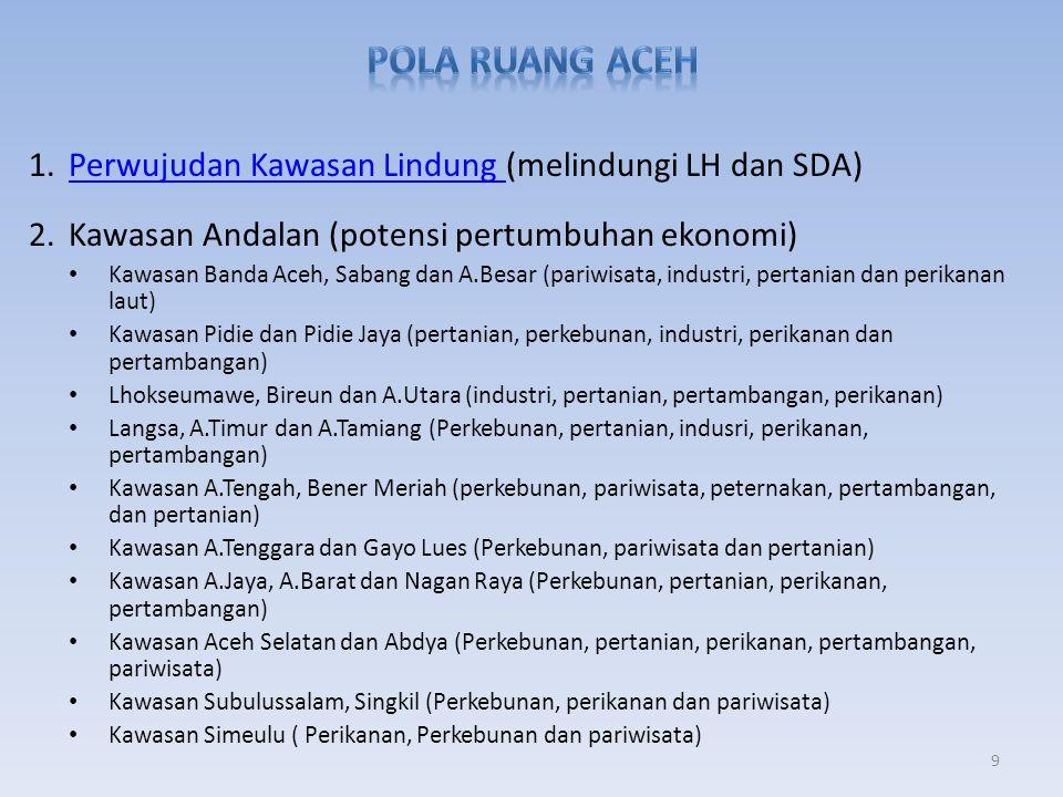 1.Perwujudan Kawasan Lindung (melindungi LH dan SDA)Perwujudan Kawasan Lindung 2.Kawasan Andalan (potensi pertumbuhan ekonomi) • Kawasan Banda Aceh, S