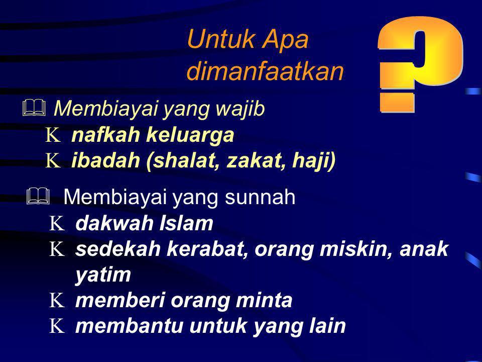 Untuk Apa dimanfaatkan  Membiayai yang wajib  nafkah keluarga  ibadah (shalat, zakat, haji)  Membiayai yang sunnah  dakwah Islam  sedekah kerabat, orang miskin, anak yatim  memberi orang minta  membantu untuk yang lain