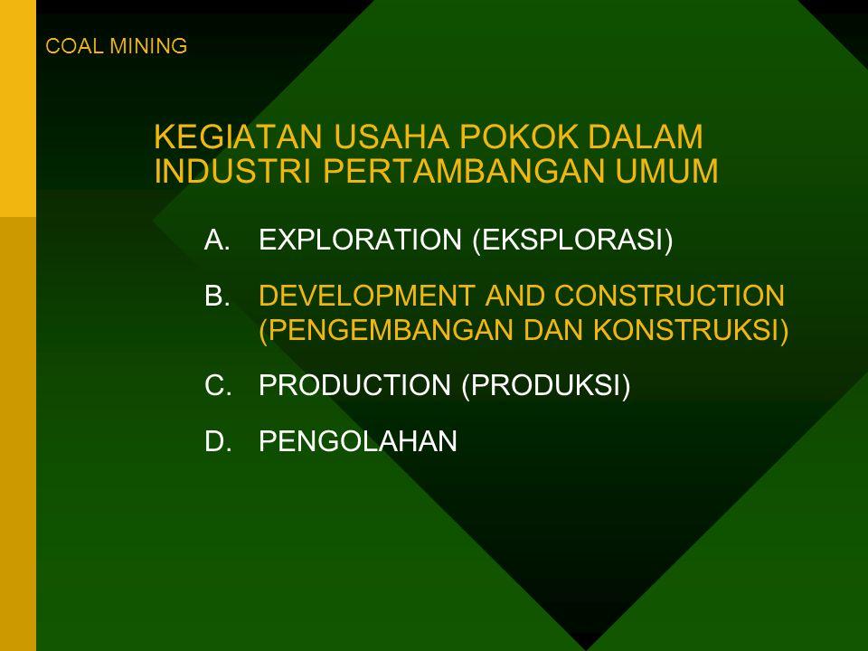 KEGIATAN USAHA POKOK DALAM INDUSTRI PERTAMBANGAN UMUM A.EXPLORATION (EKSPLORASI) B.DEVELOPMENT AND CONSTRUCTION (PENGEMBANGAN DAN KONSTRUKSI) C.PRODUCTION (PRODUKSI) D.PENGOLAHAN COAL MINING