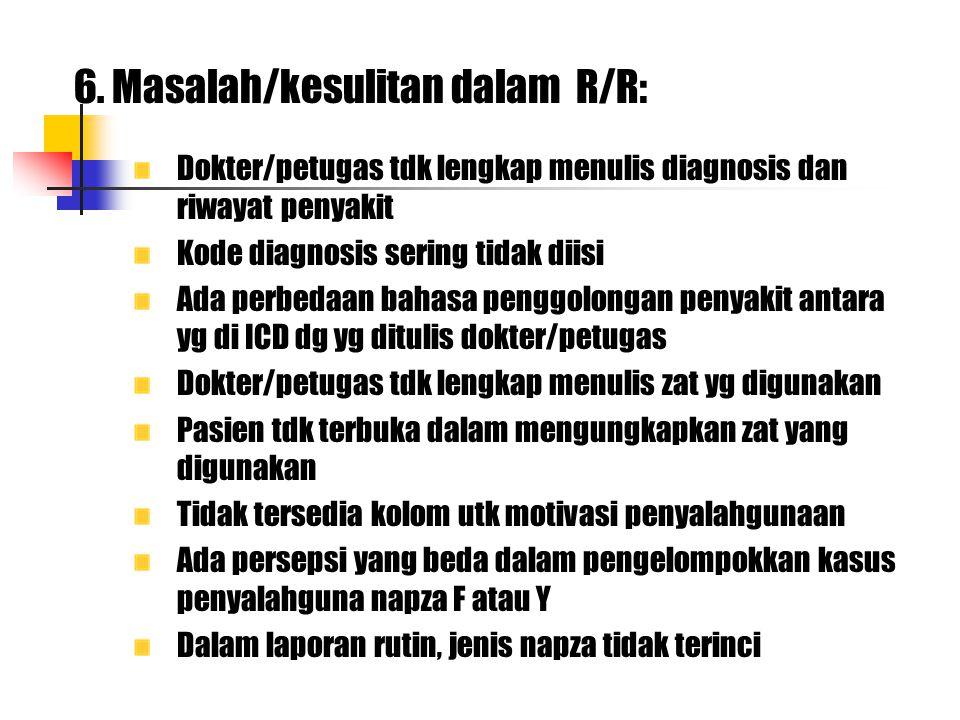 6. Masalah/kesulitan dalam R/R: Dokter/petugas tdk lengkap menulis diagnosis dan riwayat penyakit Kode diagnosis sering tidak diisi Ada perbedaan baha