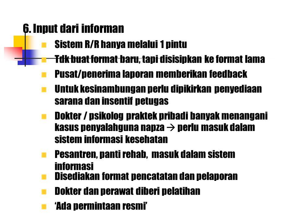 6. Input dari informan Sistem R/R hanya melalui 1 pintu Tdk buat format baru, tapi disisipkan ke format lama Pusat/penerima laporan memberikan feedbac