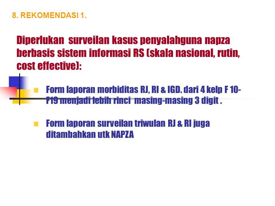 8. REKOMENDASI 1. Diperlukan surveilan kasus penyalahguna napza berbasis sistem informasi RS (skala nasional, rutin, cost effective): Form laporan mor