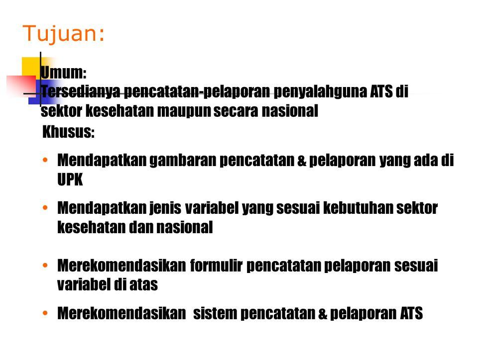 Tujuan: Umum: Tersedianya pencatatan-pelaporan penyalahguna ATS di sektor kesehatan maupun secara nasional Khusus: •Mendapatkan gambaran pencatatan &
