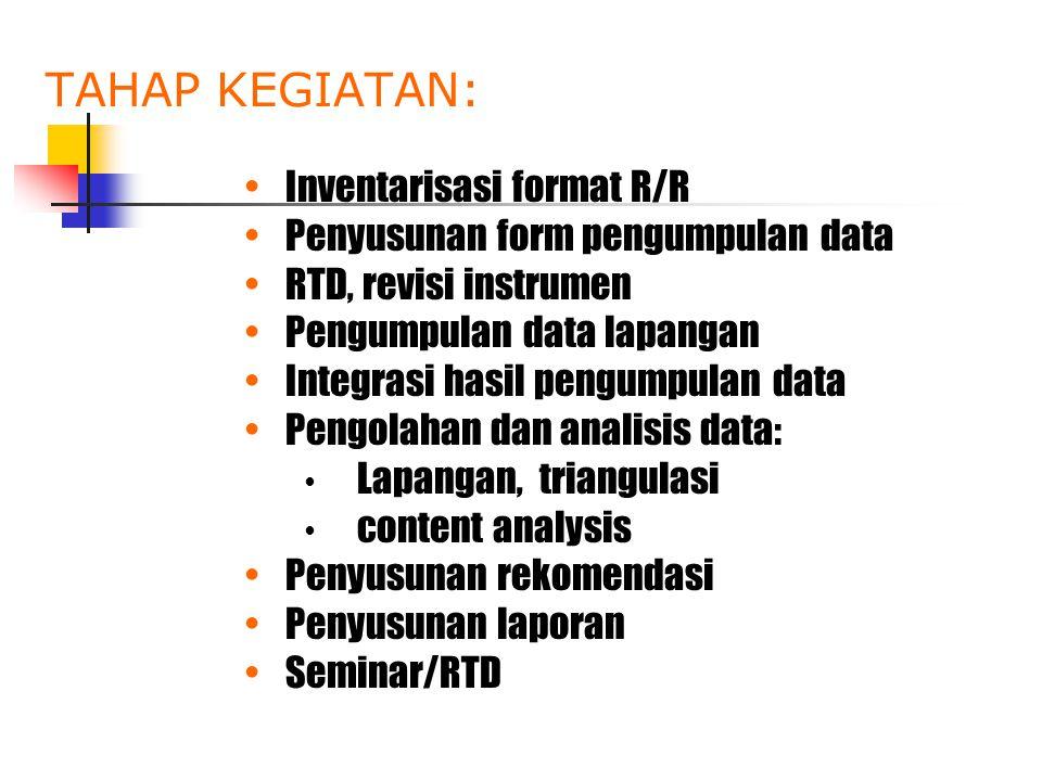 TAHAP KEGIATAN: •Inventarisasi format R/R •Penyusunan form pengumpulan data •RTD, revisi instrumen •Pengumpulan data lapangan •Integrasi hasil pengump