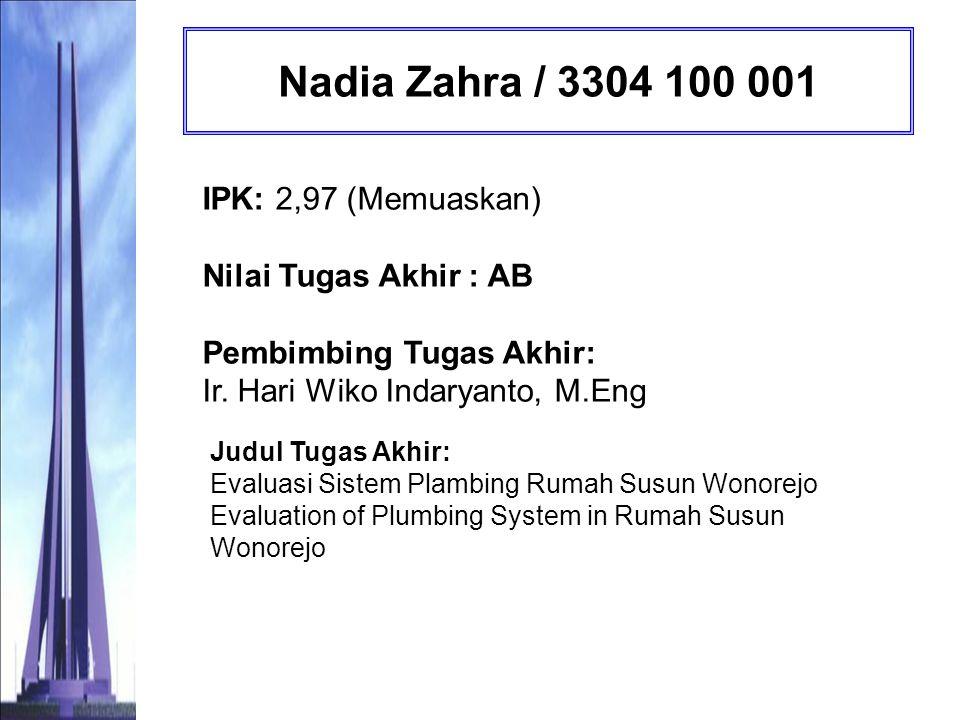Bayu Yudha Andika / 3305 100 012 IPK: 2,72 (Memuaskan) Nilai Tugas Akhir : BC Pembimbing Tugas Akhir: Ir.