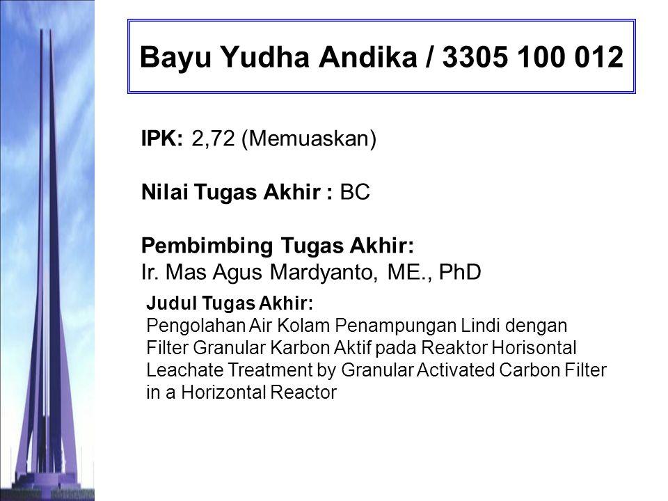 Ghani Arasyid / 3305 100 023 IPK: 2,93 (Sangat Memuaskan) Nilai Tugas Akhir : AB Pembimbing Tugas Akhir: Prof.