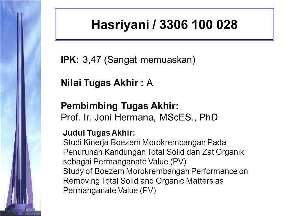 Karina Rindang Trapsila Siwi / 3306 100 030 IPK: 3,55 (Dengan Pujian) Nilai Tugas Akhir : A Pembimbing Tugas Akhir: Abdu Fadli Assomadi, Ssi, MT.