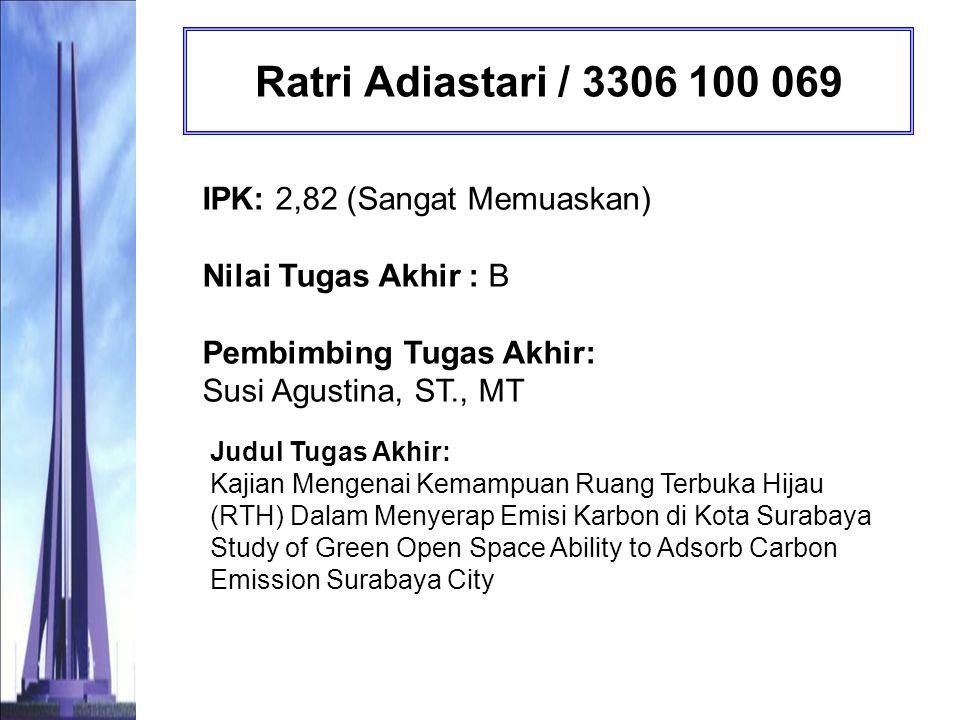 Widya Sagita Irsyada / 3306 100 071 IPK: 3,01 (Sangat Memuaskan) Nilai Tugas Akhir : A Pembimbing Tugas Akhir: Prof.