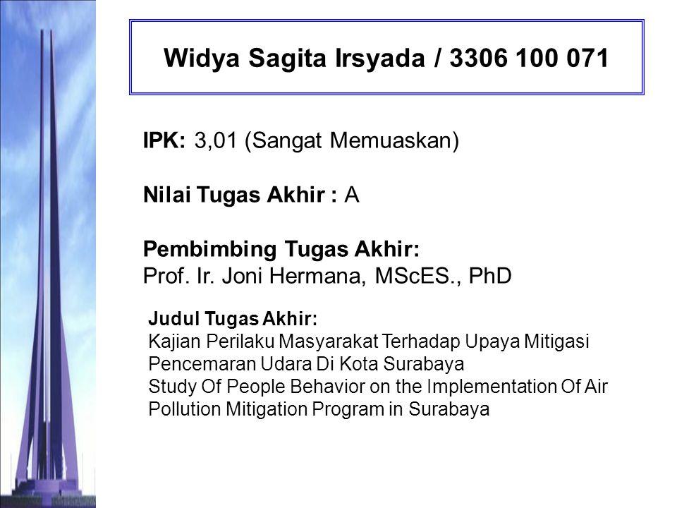Desy Gigih Pratiwi / 3306 100 072 IPK: 3,10 (Sangat Memuaskan) Nilai Tugas Akhir : B Pembimbing Tugas Akhir: Ir.