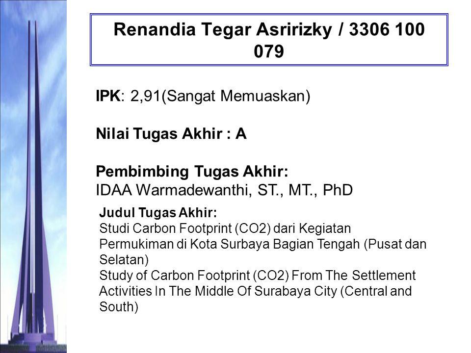 Tisna Ayuning Tyas / 3306 100 080 IPK: 3,06 (Sangat Memuaskan) Nilai Tugas Akhir : AB Pembimbing Tugas Akhir: Prof.