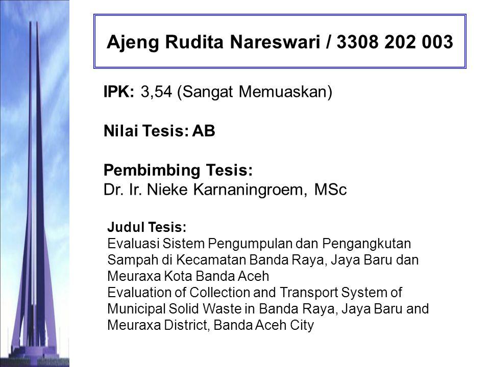 Akung Novajanto Sodiq Nu / 3308 202 004 IPK: 3,38 (Memuaskan) Nilai Tesis: AB Pembimbing Tesis: Ir.