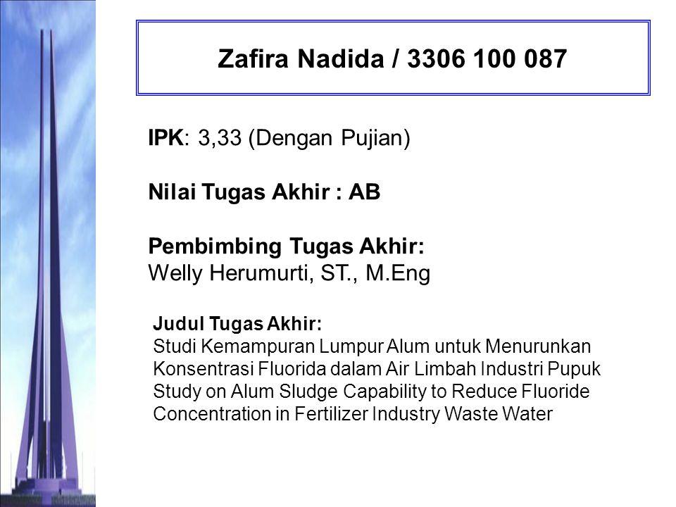 Muhimatul Khoiroh / 3306 100 088 IPK: 3,15 (Sangat Memuaskan) Nilai Tugas Akhir : AB Pembimbing Tugas Akhir: Prof.