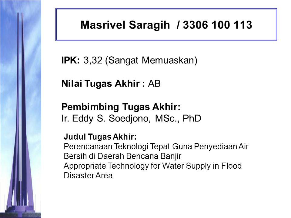 Mustika Hardi / 3304 100 072 IPK: 2,74 (Memuaskan) Nilai Tugas Akhir : AB Pembimbing Tugas Akhir: Prof.