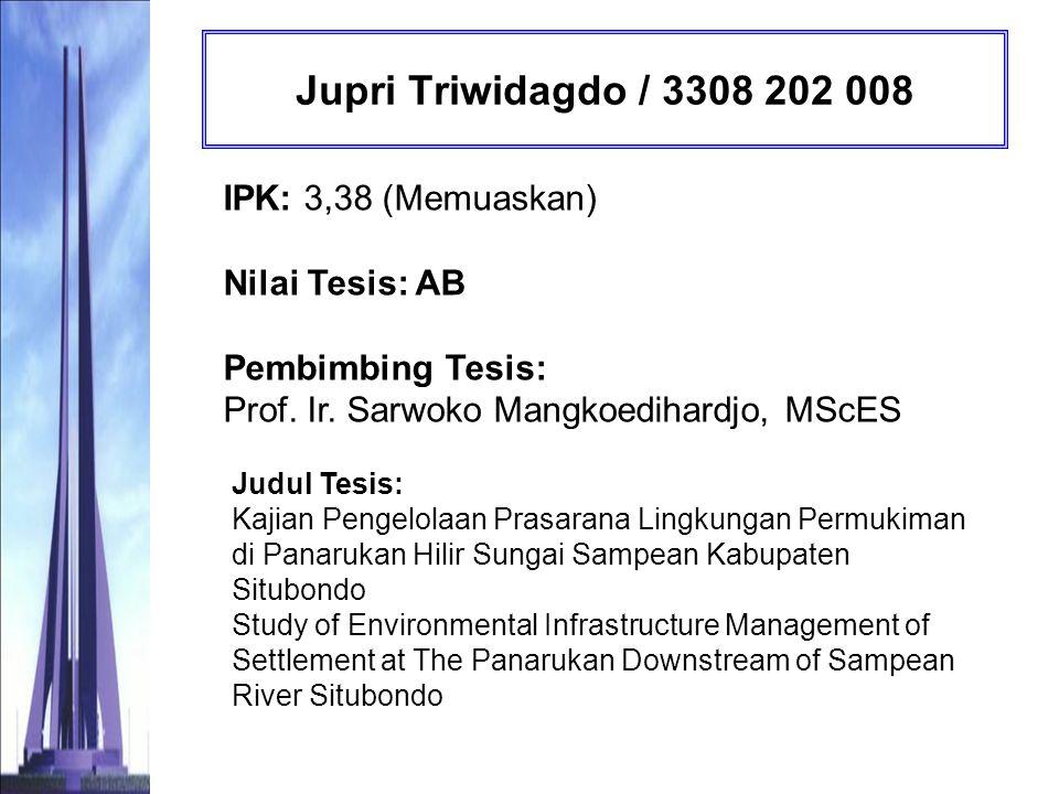 Diah Kusumaningrum / 3308 202 011 IPK: 3,64 (Memuaskan) Nilai Tesis : AB Pembimbing Tesis: IDAA Warmadhewanti, ST., MT., PhD Judul Tesis: Evaluasi Pengelolaan Prasarana Lingkungan Rumah Susun di Surabaya (Studi Kasus : Rusunawa Urip Sumoharjo) Evaluation of Environmental Infrastructure Management of Apartment for Low Income People in Surabaya (Case Study : Rusunawa Urip Sumoharjo)
