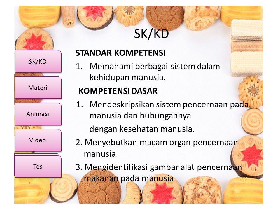 SK/KD Video Materi Animasi Kuis SK/KD Video Materi Animasi Tes SK/KD STANDAR KOMPETENSI 1.Memahami berbagai sistem dalam kehidupan manusia. KOMPETENSI