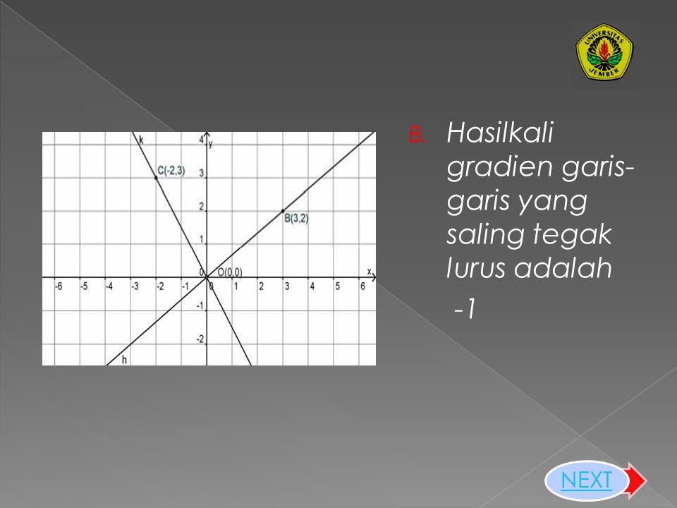 A. Gradien Garis-garis Lurus yang Saling Sejajar memiliki gradien yang sama NEXT
