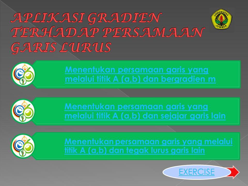 C. Gradien garis yang sejajar sumbu x adalah 0 dan gradien garis yang sejajar sumbu y adalah tak terdefinisi BACK