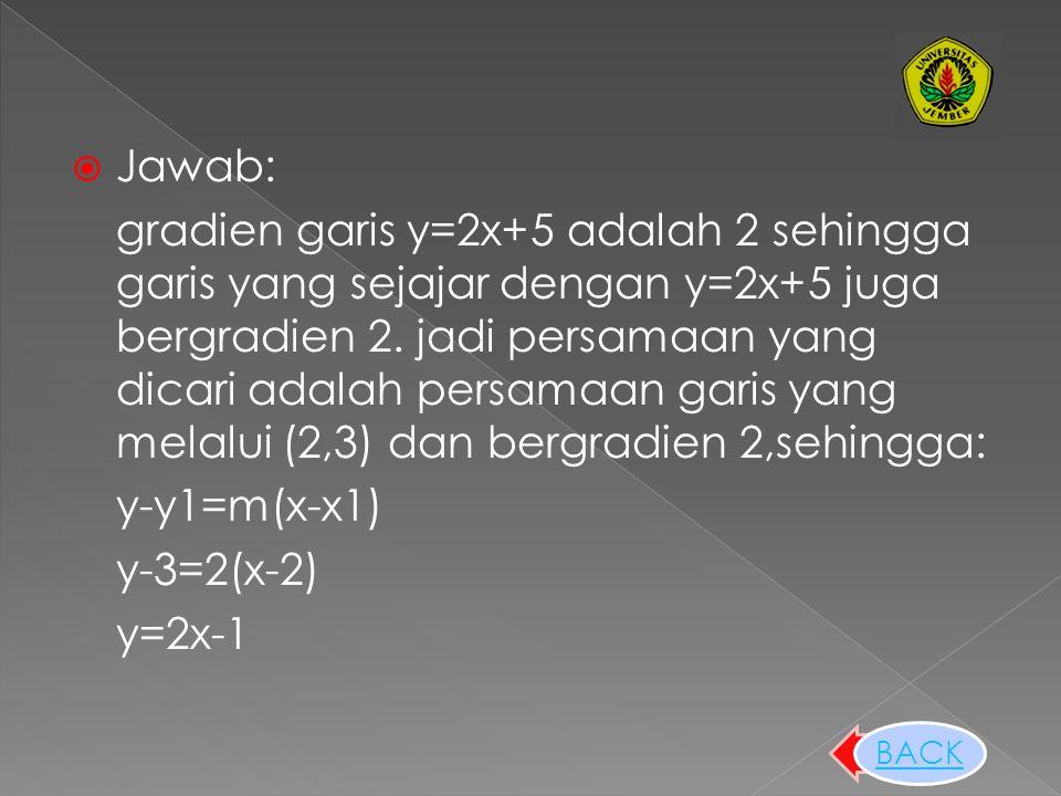 untuk menentukan persamaan garis yang sejajar dengan suatu garis yang telah diketahui dan melalui titik tertentu, maka dicari terlebih dahulu gradien