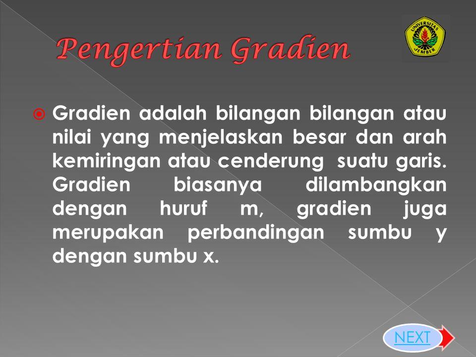  Gradien adalah bilangan bilangan atau nilai yang menjelaskan besar dan arah kemiringan atau cenderung suatu garis.