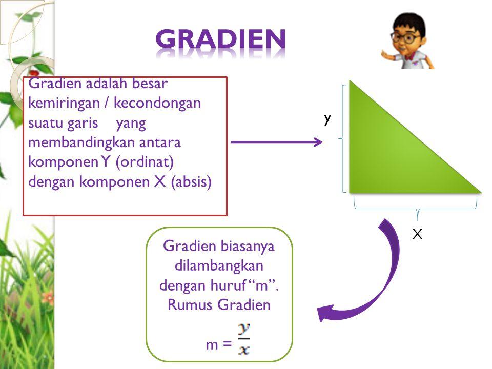 Gradien adalah besar kemiringan / kecondongan suatu garis yang membandingkan antara komponen Y (ordinat) dengan komponen X (absis) Gradien biasanya di