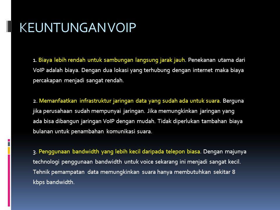 KEUNTUNGAN VOIP 1.Biaya lebih rendah untuk sambungan langsung jarak jauh.