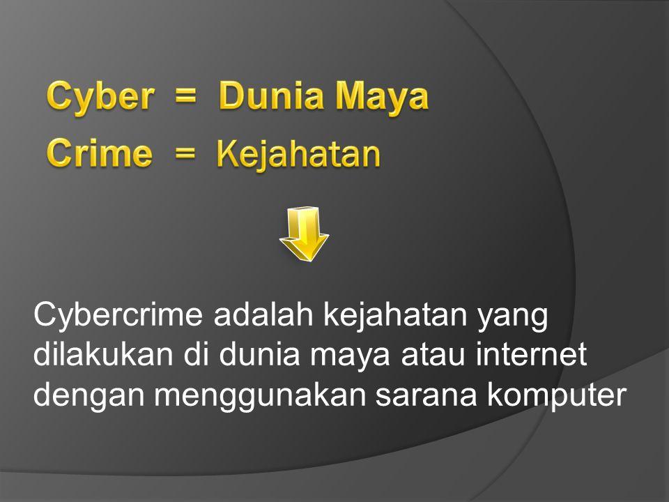 Kejahatan yang dilakukan dengan cara memasuki komputer atau jaringan komputer secara tidak sah atau tanpa izin Unauthorized Acces / Mengakses tanpa diketahui