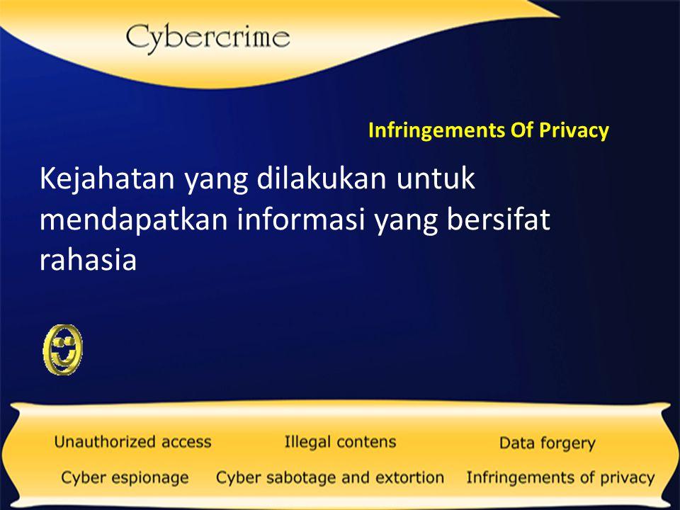 Phishing Kejahatan Dunia Maya yang dirancang untuk mengecoh orang lain agar memberikan data-data pribadinya ke situs yang sudah disiapkan pelaku.