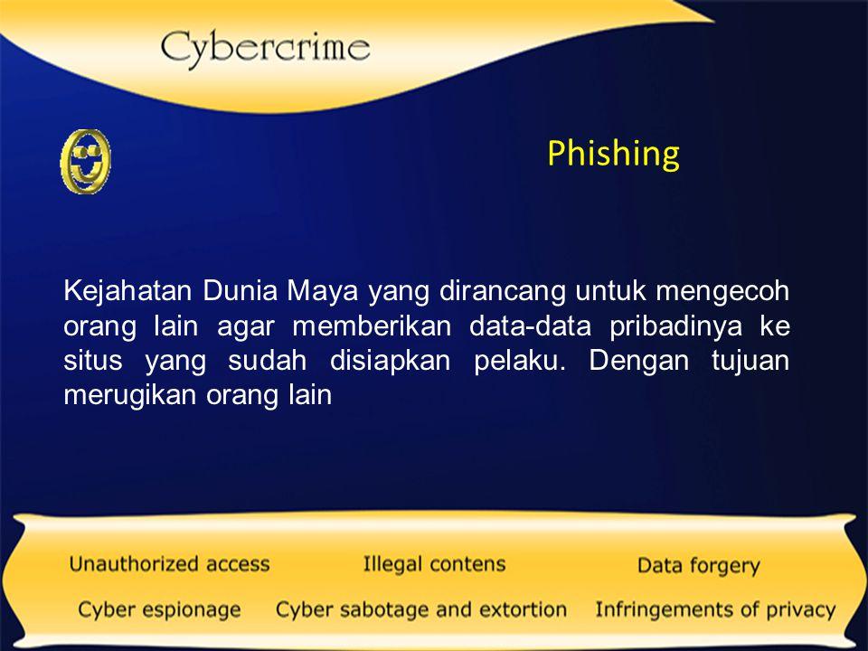 Carding Kejahatan penipuan dengan menggunakan kartu kredit, dengan cara mencuri nomor kartu kredit dan kemudian digunakan untuk bertransaksi.