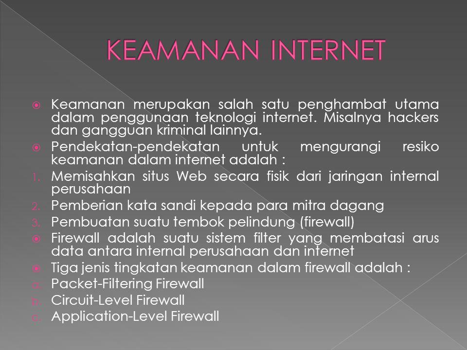  Keamanan merupakan salah satu penghambat utama dalam penggunaan teknologi internet.