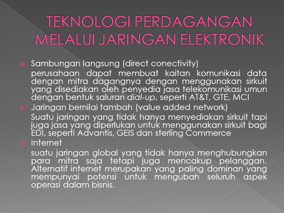  Sambungan langsung (direct conectivity) perusahaan dapat membuat kaitan komunikasi data dengan mitra dagangnya dengan menggunakan sirkuit yang disediakan oleh penyedia jasa telekomunikasi umun dengan bentuk saluran dial-up, seperti AT&T, GTE, MCI  Jaringan bernilai tambah (value added network) Suatu jaringan yang tidak hanya menyediakan sirkuit tapi juga jasa yang diperlukan untuk menggunakan sirkuit bagi EDI, seperti Advantis, GEIS dan sterling Commerce  Internet suatu jaringan global yang tidak hanya menghubungkan para mitra saja tetapi juga mencakup pelanggan.