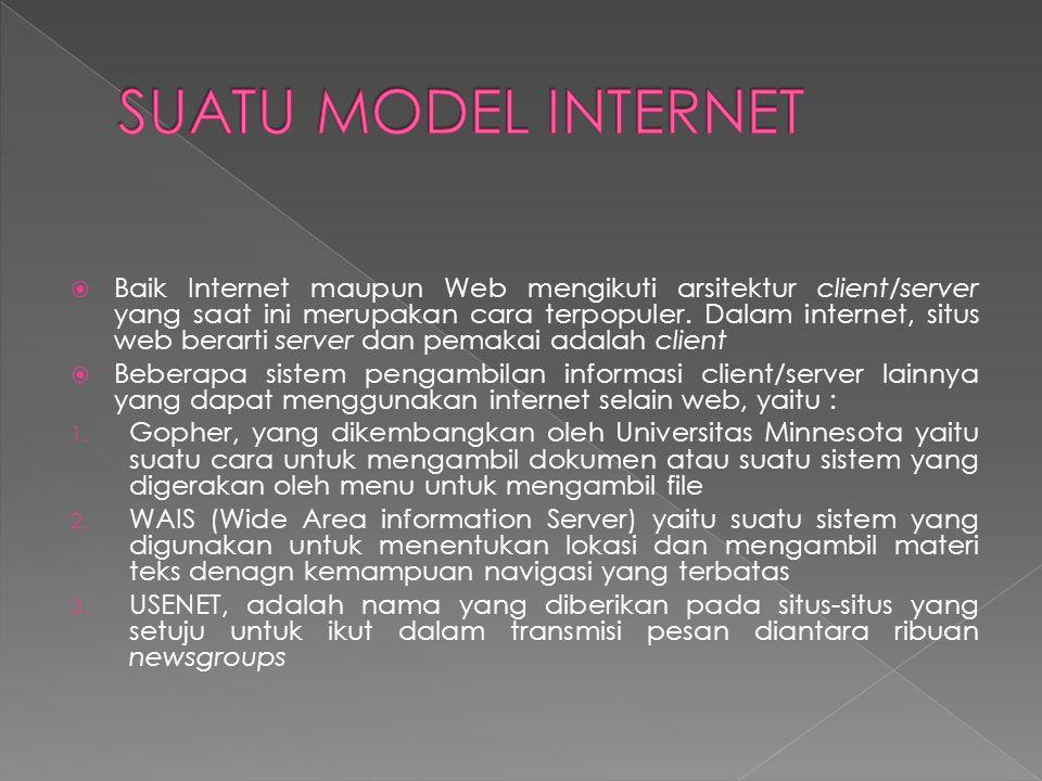  Baik Internet maupun Web mengikuti arsitektur client/server yang saat ini merupakan cara terpopuler.