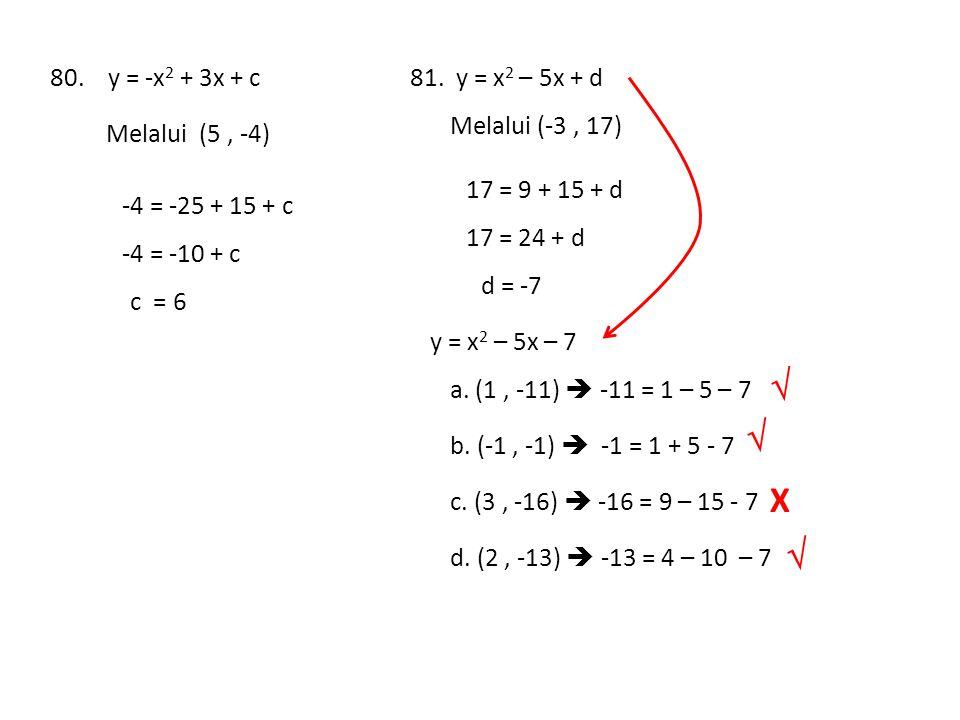 80. y = -x 2 + 3x + c Melalui (5, -4) -4 = -25 + 15 + c -4 = -10 + c c = 6 81. y = x 2 – 5x + d Melalui (-3, 17) 17 = 9 + 15 + d 17 = 24 + d d = -7 y