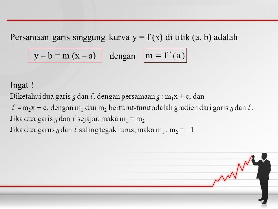 Persamaan garis singgung kurva y = f (x) di titik (a, b) adalah dengan Ingat ! Diketahui dua garis g dan l, dengan persamaan g : m 1 x + c, dan l = m