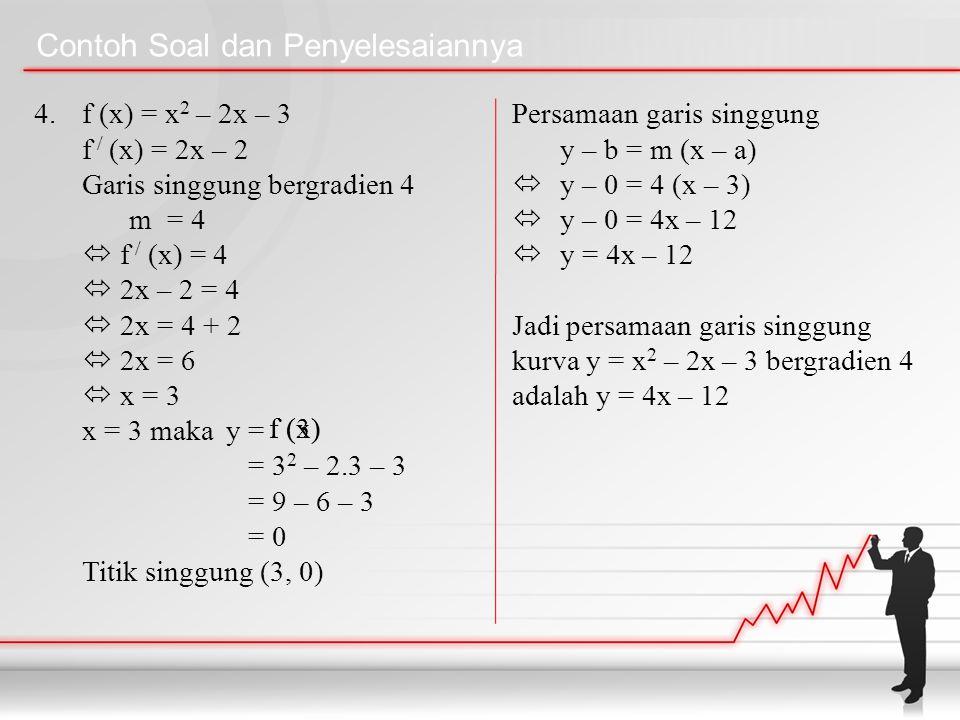 Contoh Soal dan Penyelesaiannya 4. f (x) = x 2 – 2x – 3 f / (x) = 2x – 2 Garis singgung bergradien 4 m= 4  f / (x) = 4  2x – 2 = 4  2x = 4 + 2  2x