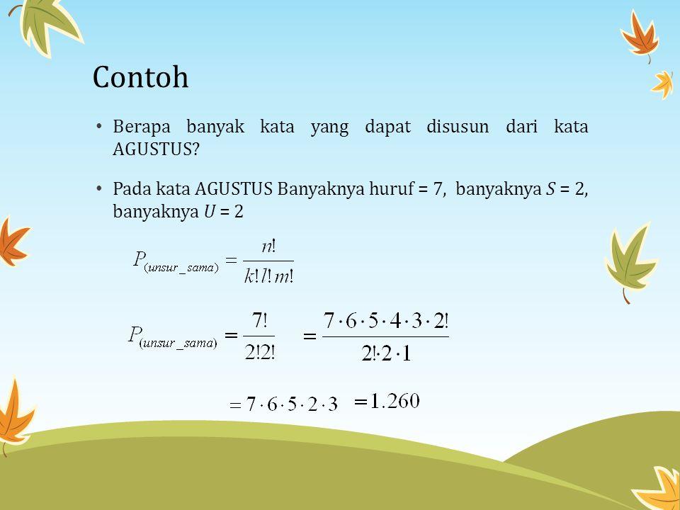 Contoh • Berapa banyak kata yang dapat disusun dari kata AGUSTUS? • Pada kata AGUSTUS Banyaknya huruf = 7, banyaknya S = 2, banyaknya U = 2