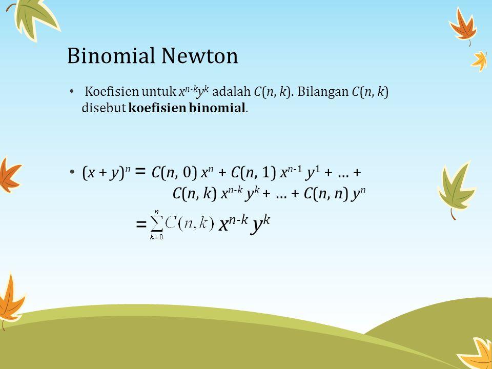 Binomial Newton • Koefisien untuk x n-k y k adalah C(n, k). Bilangan C(n, k) disebut koefisien binomial. • (x + y) n = C(n, 0) x n + C(n, 1) x n-1 y 1