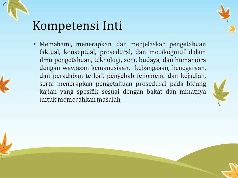 Kompetensi Inti • Memahami, menerapkan, dan menjelaskan pengetahuan faktual, konseptual, prosedural, dan metakognitif dalam ilmu pengetahuan, teknolog