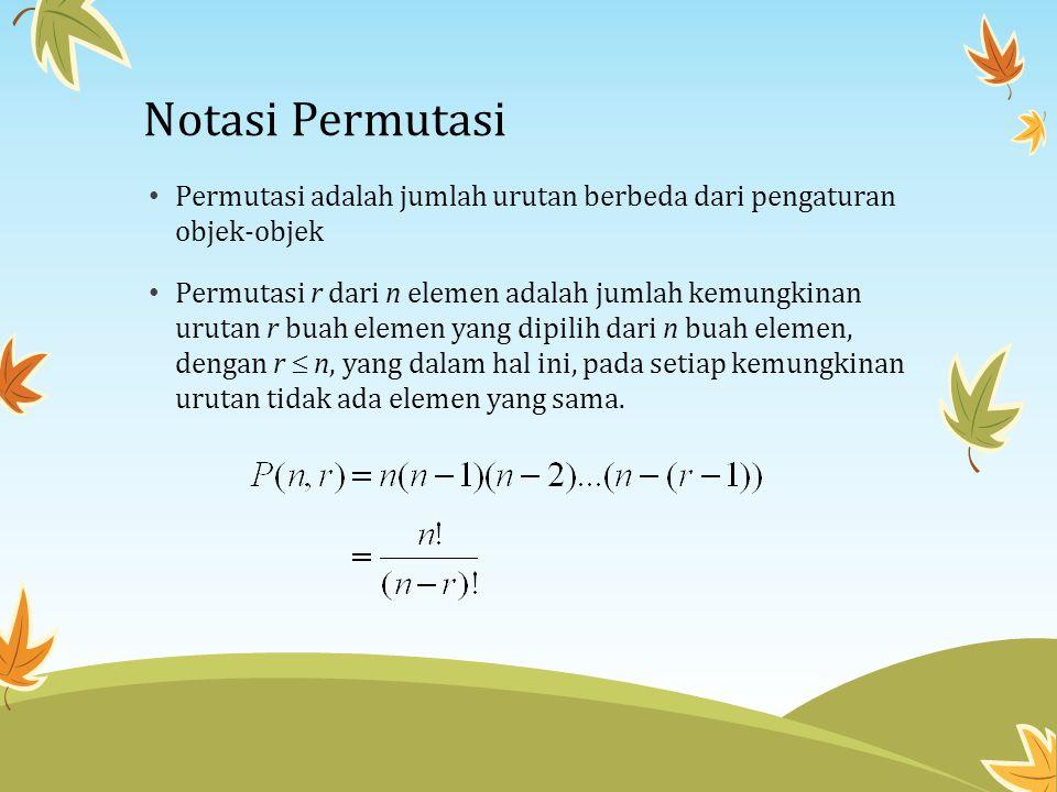Notasi Permutasi • Permutasi adalah jumlah urutan berbeda dari pengaturan objek-objek • Permutasi r dari n elemen adalah jumlah kemungkinan urutan r b