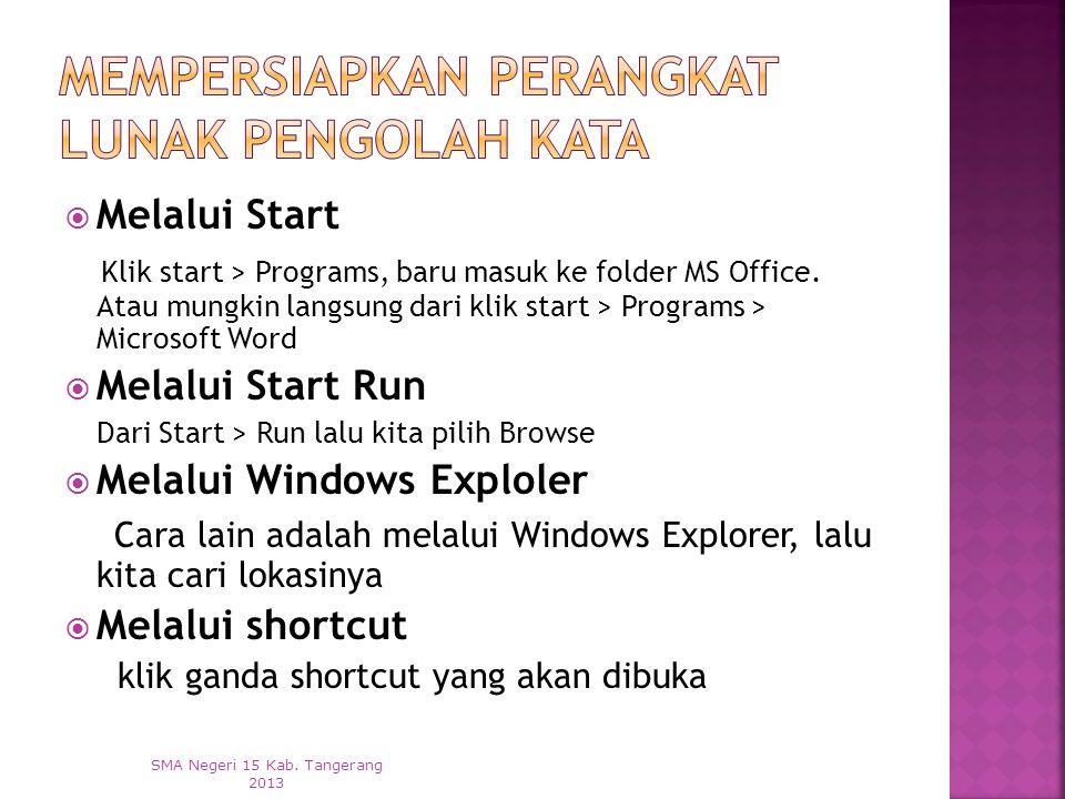  Melalui Start Klik start > Programs, baru masuk ke folder MS Office.