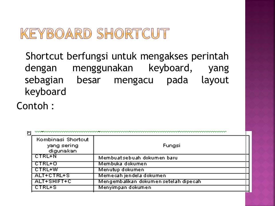Shortcut berfungsi untuk mengakses perintah dengan menggunakan keyboard, yang sebagian besar mengacu pada layout keyboard Contoh :