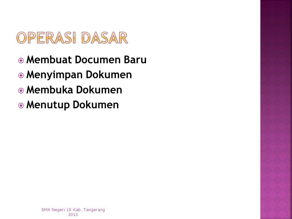  Membuat Documen Baru  Menyimpan Dokumen  Membuka Dokumen  Menutup Dokumen SMA Negeri 15 Kab.