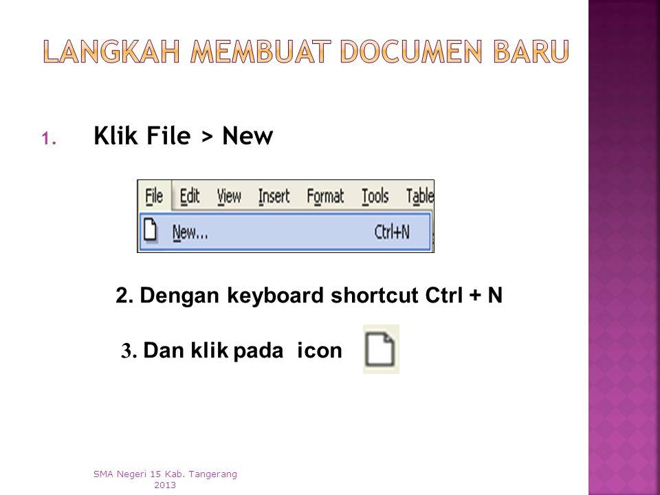  Membuat Documen Baru  Menyimpan Dokumen  Membuka Dokumen  Menutup Dokumen SMA Negeri 15 Kab. Tangerang 2013