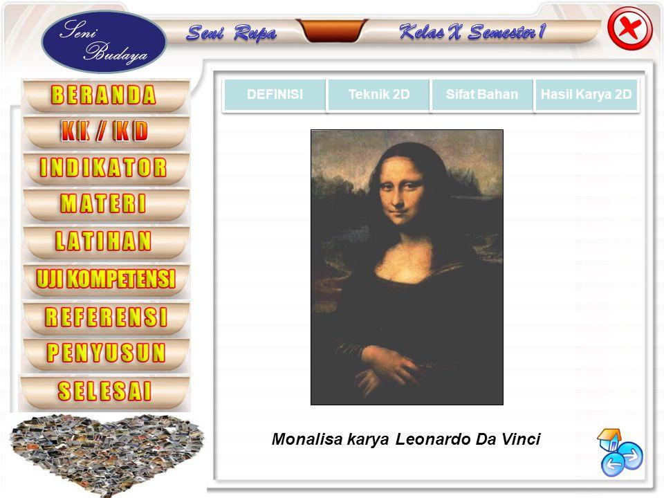 Seni Budaya DEFINISI Teknik 2D Sifat Bahan Hasil Karya 2D Monalisa karya Leonardo Da Vinci