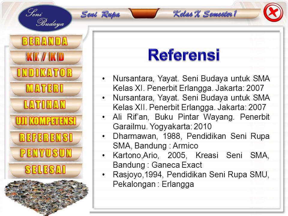 Seni Budaya •Nursantara, Yayat. Seni Budaya untuk SMA Kelas XI. Penerbit Erlangga. Jakarta: 2007 •Nursantara, Yayat. Seni Budaya untuk SMA Kelas XII.