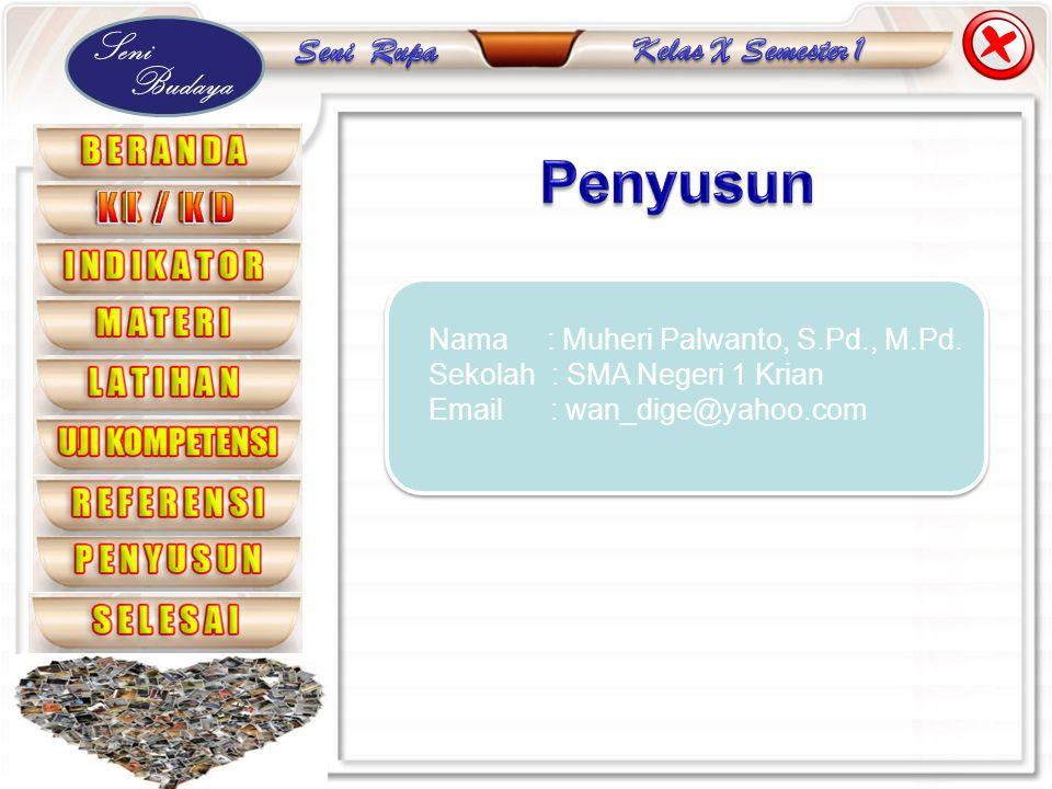 Seni Budaya Nama : Muheri Palwanto, S.Pd., M.Pd. Sekolah : SMA Negeri 1 Krian Email : wan_dige@yahoo.com