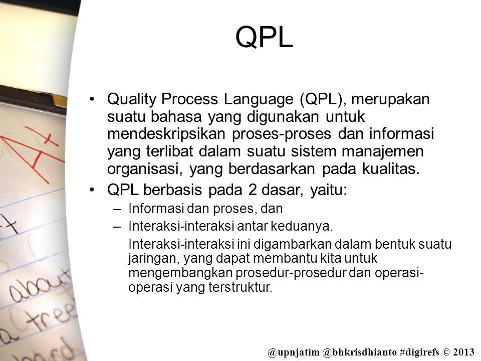 @upnjatim @bhkrisdhianto #digirefs © 2013 QPL •Quality Process Language (QPL), merupakan suatu bahasa yang digunakan untuk mendeskripsikan proses-pros