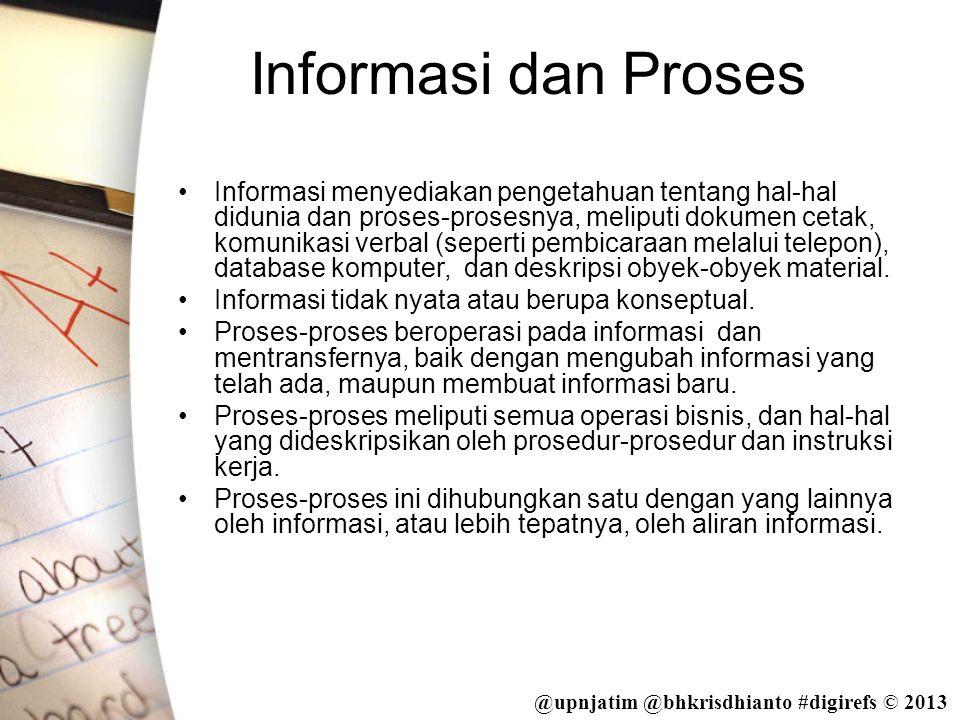 @upnjatim @bhkrisdhianto #digirefs © 2013 Informasi dan Proses •Informasi menyediakan pengetahuan tentang hal-hal didunia dan proses-prosesnya, melipu