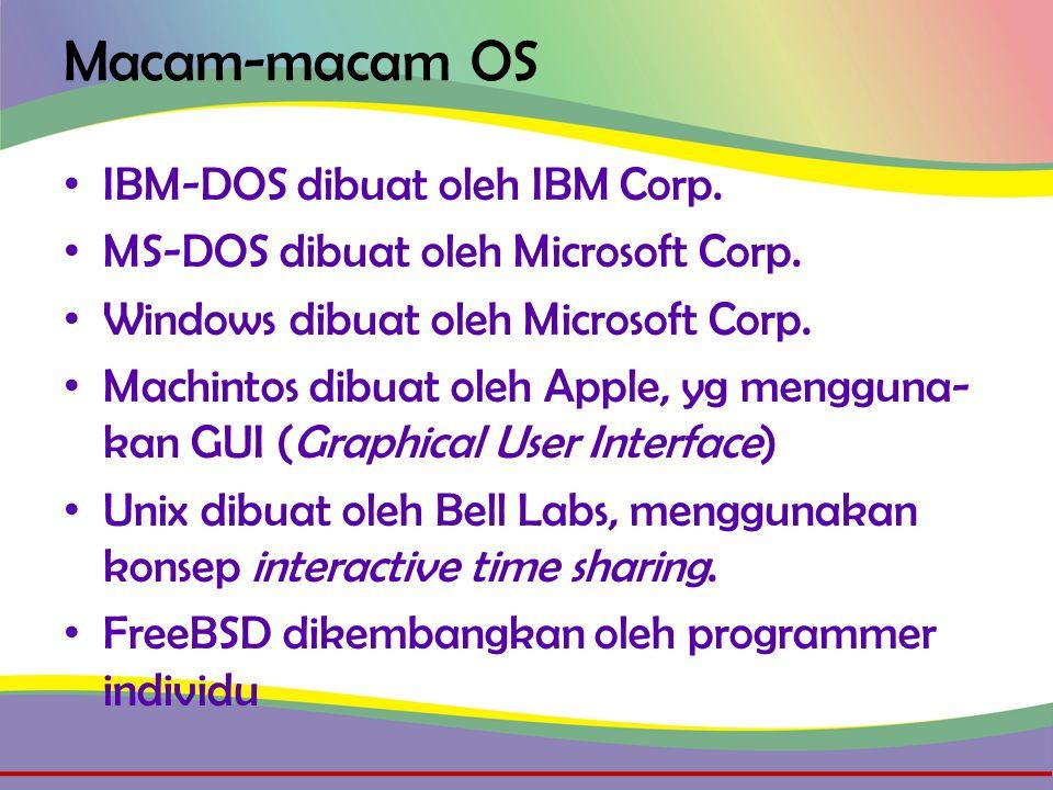 Macam-macam OS • IBM-DOS dibuat oleh IBM Corp. • MS-DOS dibuat oleh Microsoft Corp.