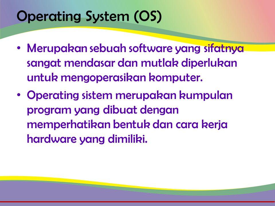 Operating System (OS) • Fungsinya untuk mengatur dan mengontrol sumber daya yang ada, baik dari hardware (CPU, Memory, Storage) maupun software (Program Aplikasi) baik yang dibuat oleh pembuat ataupun yang dibuat oleh para programmer.