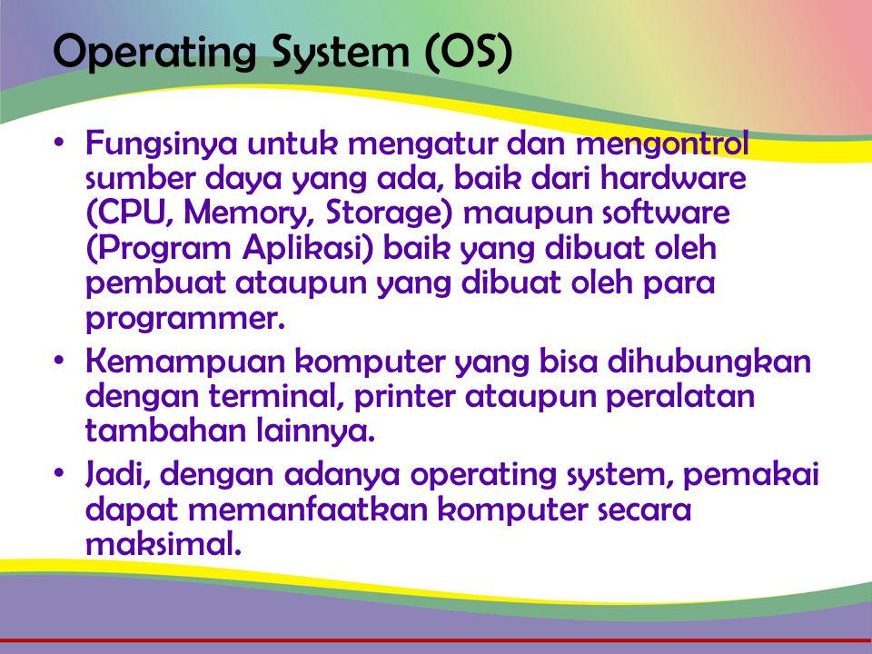 OS Generasi IC-Chip • Time Sharing atau Multi Tasking, pemrosesan hampir sama dengan multiprogramming, hanya saja waktu prosesnya dibatasi.